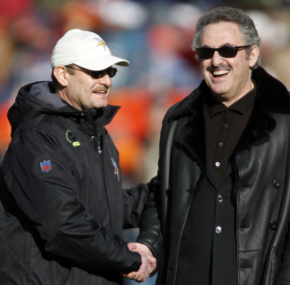 """""""He wants to win,"""" says Minnesota head coach Brad Childress (left), who greeted Wilf before a game against the Broncos."""