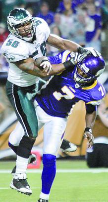 Eagles linebacker Akeem Jordan clobbers Vikings signal-caller Tarvaris Jackson. Jordan was called for a personal foul on the play.