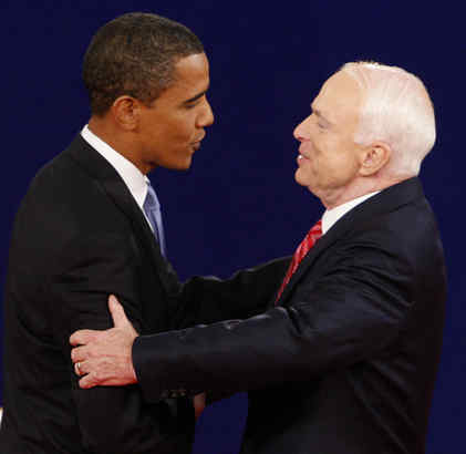 The candidates, Barack Obama and John McCain, greeted each other warmly before an October debate. McCain may be the president-elect's best bipartisan partner.