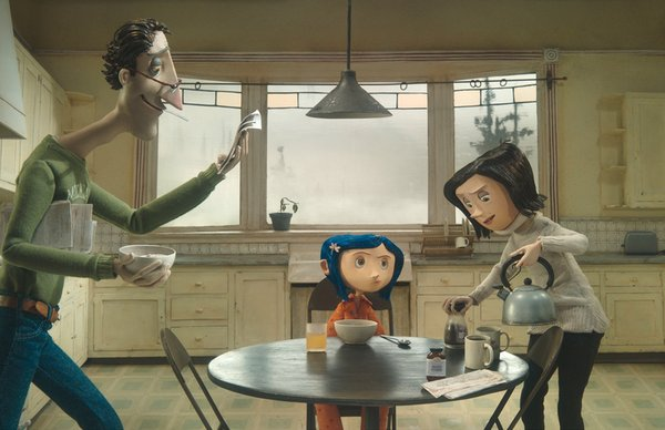Coraline (voiced by Dakota Fanning) tries to get the attention of her harried parents (John Hodgman and Teri Hatcher) in Henry Selick's stop-motion animated 3-D adventure.