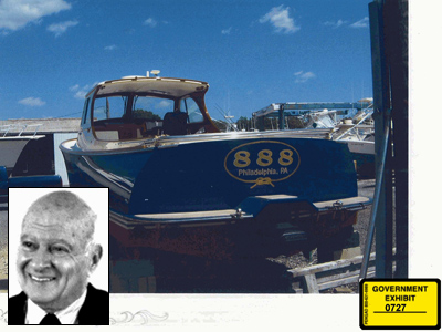 Multimillionaire Stephen Marcus (inset photo) allegedly gave former State Sen. Vincent J. Fumo a $1 million gift and this $500,000 power boat. The boat photo was presented as evidence by prosecutors.