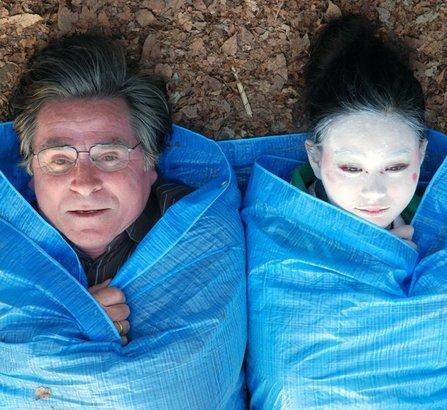 Elmar Wepper is Rudi, a German who loves home; Aya Irizuki is Yu, a homeless dancer he meets by chance in Tokyo.