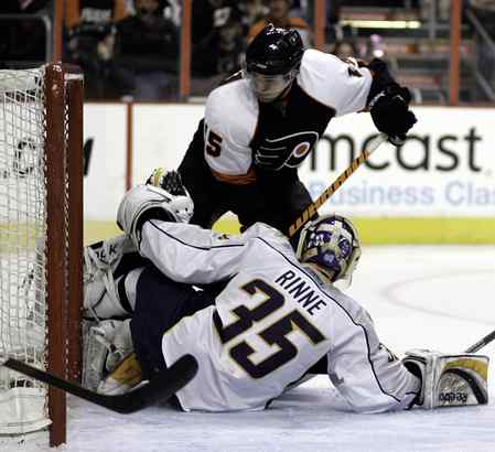 Joffrey Lupul beats Pekka Rinne for one of his two goals in Saturday's 4-1 win over Nashville.