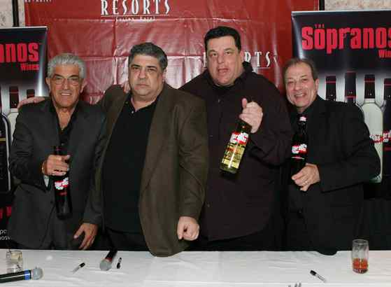 "Former cast members of ""The Sopranos"" - from left, Frank Vincent, Vinny Pastore, Steve Schirippa, and Dan Grimaldi - display the Sopranos ""Family Made"" Wines at Resorts in Atlantic City. The wines - latest in a bountiful harvest of celebrity offerings - already are on sale in New Jersey and will reach Pennsylvania stores this month."