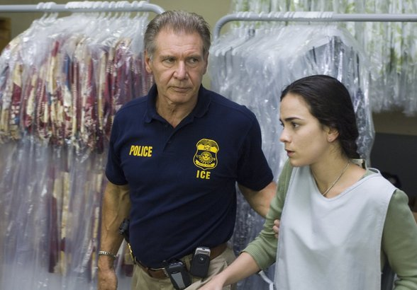 """Harrison Ford and Alice Braga in """"Crossing Over."""" He plays an Immigrant and Customs Enforcement agent, she an undocumented worker."""