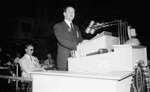 Mayor Hubert H. Humphrey of Minneapolis addresses the 1948 Democratic National Convention in Philadelphia. As a U.S. senator, Humphrey worked with Republicans to pass the groundbreaking Wilderness Act 45 years ago today. (AP Photo)
