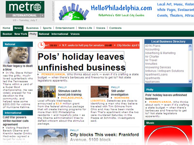 The Metro Philadelphia Web site hasn´t been updated since before the Fourth of July holiday.