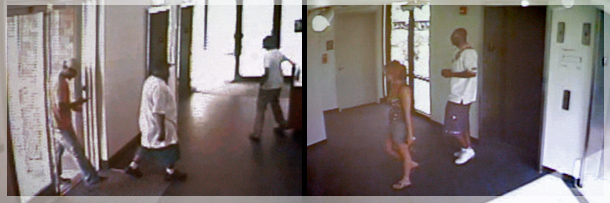 Surveillance video shows three suspects, left, entering the Piazza at Schmidts complex on Saturday, June 27, 2009, before gunning down Rian Thal and Timothy Gilmore, at right, in the Navona apartment building. (Courtesy of the Philadelphia Police Department)
