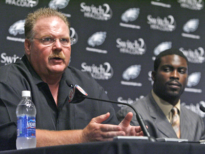 "Coach Andy Reid on new quarterback Michael Vick: ""The majority of the public wants Michael to do well."" (Alejandro A. Alvarez / Staff Photographer)"