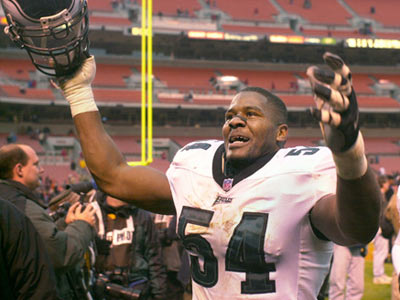 Linebacker Jeremiah Trotter celebrates after a playoff-clinching win in Cleveland on Dec. 10, 2000.  (File photo)