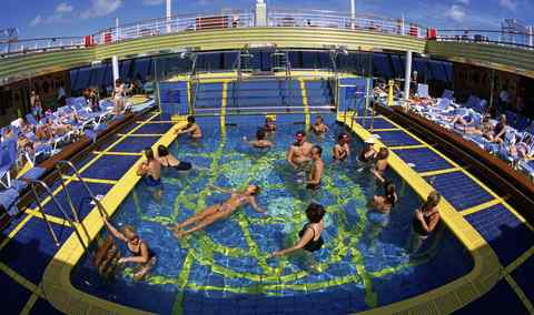 On the Carnival Triumph, passengers can dip into one of four pools - or perhaps enter the hairy-chest contest.