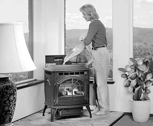 The pellet-burning stove, which uses compressed sawdust, is gaining in