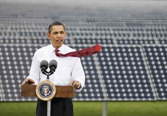 """President Obama, shown here speaking at Florida Power & Light´s solar energy center, has called cutting carbon-dioxide emissions """"a debate between looking backward and looking forward."""" (STEVE NESIUS / Associated Press)"""