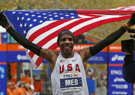 Meb Keflezighi finishes first at New York City Marathon.