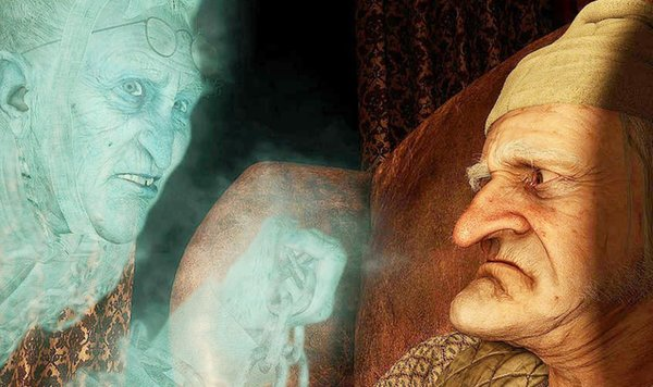 The spirit of Jacob Marley (Gary Oldman) visits Scrooge (Jim Carrey) in 3-D motion-capture animation. Carrey also plays the three spirits.