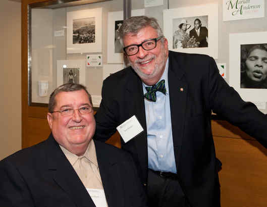 """Chef Fritz Blank (left) with his pal pastry chef Nick Malgieri. Blank was honored last week at the Rare Book and Manuscript Library of the University of Pennsylvania with dinners and receptions, an """"Ask the Chef"""" session, and an informal talk to students."""