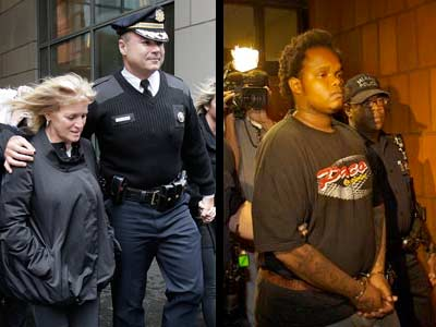 """2009 file photo: Judy Cassidy, left, the widow of Philadelphia Police Officer Chuck Cassidy; at right, John """"Jordan"""" Lewis, who was convicted in Cassidy´s slaying. (David Maialetti /John Costello / Staff Photographers)"""