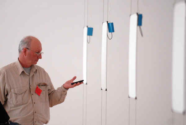 Bruce Nauman, renegade and elder statesman, checks the decibel levels of Giorni at the Philadelphia Museum of Art.