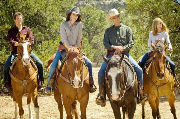 Set in Wyoming in a witness protection program, the film stars (from left) Hugh Grant, Mary Steenburgen, Sam Elliott, and Sarah Jessica Parker.
