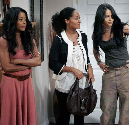 "Golden Brooks (left), Tracee Ellis Ross (center) and Persia White in a scene from ""Girlfriends,"" a now cancelled TV series about the lives of single, black women."