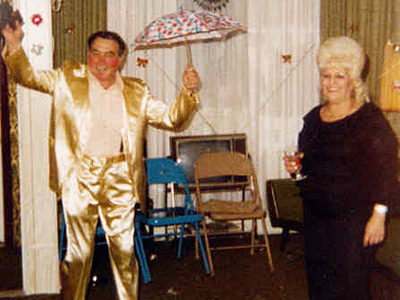 In his prime, Jim Passio Sr., here with sister Antoinette, always marched the Mummers Parade. He taught his sons to do the same. His memory was honored with a parade on Tuesday. (Family photo)