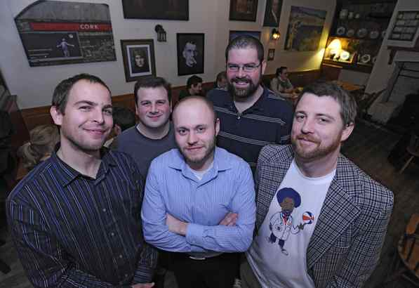 The Denver-bound Quizzo players, in the Bards Pub on Walnut Street, are (from left) Jason Garbowski, Phil Castagna, Nate DiGiorgio, Ryan Crocetto, and Johnny Goodtimes.