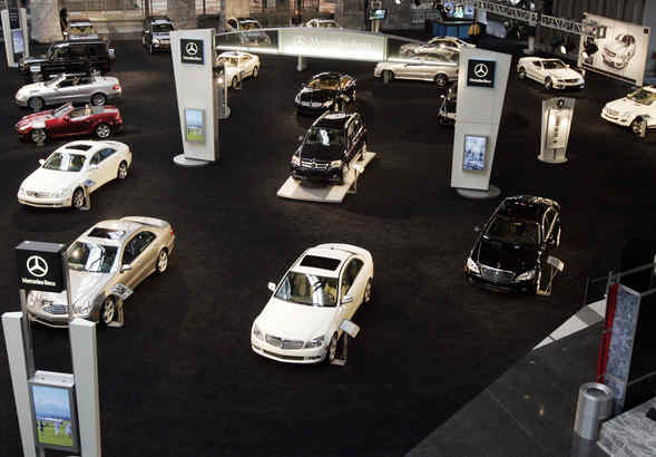 The Mercedes Benz lineup at last year´s auto show. There will be more than 700 cars to see - and slip into - at the show starting Saturday.