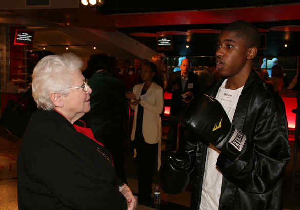 """William Smith, 14, poses as Joe Frazier at """"Night at the Wax Museum"""" fundraiser."""