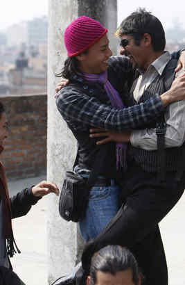 Two guests greet each other at a Kathmandu center for gays. In five years, Nepal has seen a major advance for gay rights.