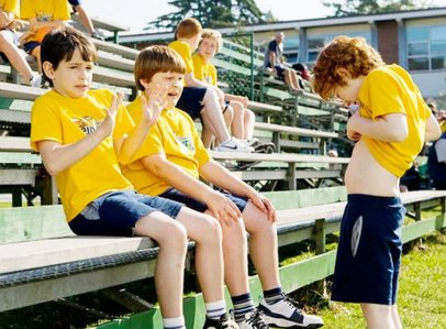 """Zachary Gordon (left) is the """"Wimpy Kid,"""" and Robert Capron is his best friend. Grayson Russell is at right."""