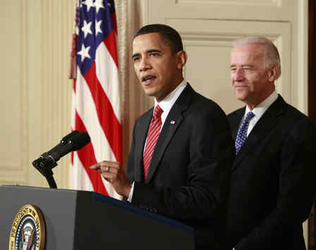 "President Obama, Vice President Biden at his side , makes a televised address after the final House vote on the bill to overhaul the health-care system. He said the vote proved ""we are still a people capable of doing big things."""