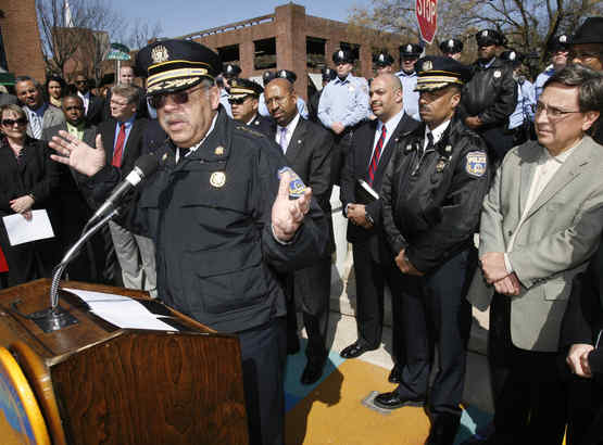 Police Commissioner Charles H. Ramsey speaks in Headhouse Square at a news conference attendedby Mayor Nutter and other officials to denounce the recent spate of violent teen gatherings.