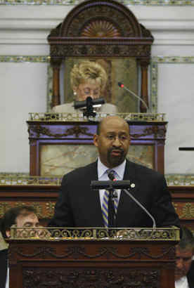 Mayor Nutter presented his 2010 budget to Philadelphia City Council in March. (ALEJANDRO A. ALVAREZ / Staff Photographer)