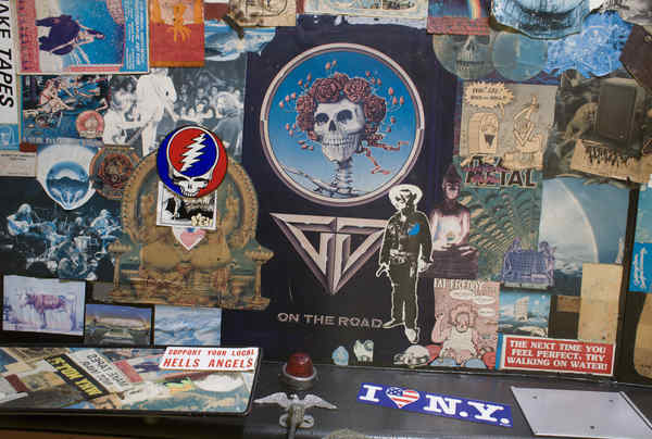 "Psychedelic memorabilia fills much of the interior of the Grateful Dead´s tour bus, now owned by a car collector in Cherry Hill. ""It looks like my Grateful Dead fraternity in college,"" said a visitor."