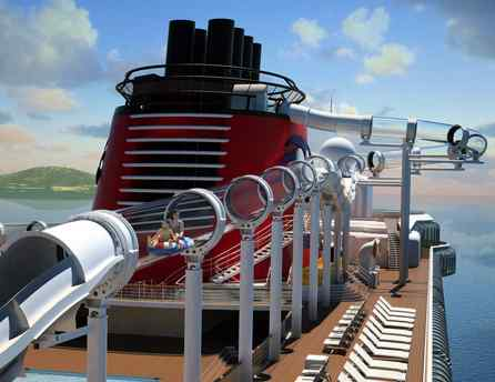 The new Disney Dream will sport a 765-foot high-speed flume ride spanning four decks and swinging 13 feet over the side of the ship.