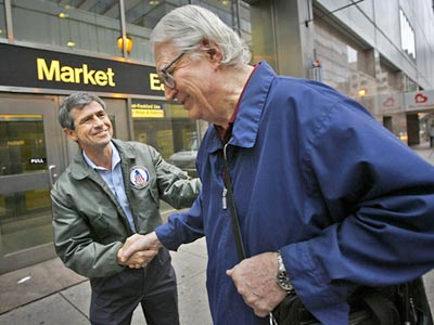 Rep. Joe Sestak greets Jim Shaw of New Jersey outside the Market East SEPTA station on Wednesday morning. Shaw waited for the opportunity to greet Sestak, who beat Sen. Arlen Specter in Tuesday´s Democratic primary. (Alejandro A. Alvarez / Staff Photographer)