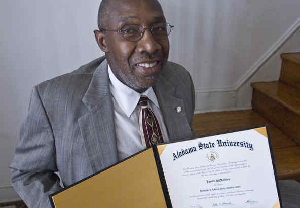 James McFadden, expelled from Alabama State for his 1960s activism, holds the degree. He had gone on to get a master´s.