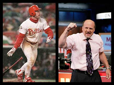 "Jim Cramer, right, host of CNBC´s ""Mad Money,´ single-handedly created the concept of former Phillie Lenny Dykstra-as-financial genius, according to a new book, ""The Zeroes,"" by failed financial publisher Randall Lane. (Jerry Lodriguss / Inquirer file; CNBC)"
