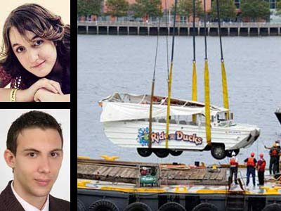 The bodies of Hungarian tourists Dora Schwendtner, 16, top left, and Szabolcs Prem, 20, were recovered Friday in the Delaware River near the Walt Whitman Bridge, two days after a Ride the Ducks boat was struck by a barge. The vessel was also lifted from the river. (Right photo: Clem Murray / Staff Photographer)