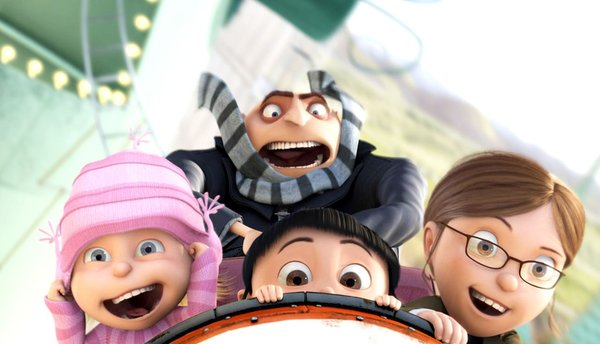 """Gru (voiced by Steve Carell), an archvillain bent on stealing the moon, and the three girls he adopts to assist him in his malevolent mission, from the animated film """"Despicable Me."""""""