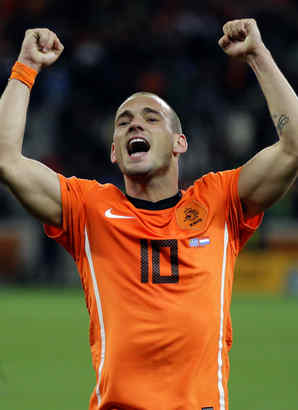 Wesley Sneijder can become the first European player to win four titles in a season if the Dutch prevail on Sunday.
