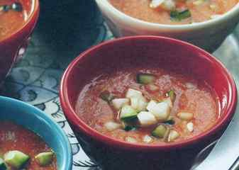 Watermelon gazpacho couples sweet and savory flavors.
