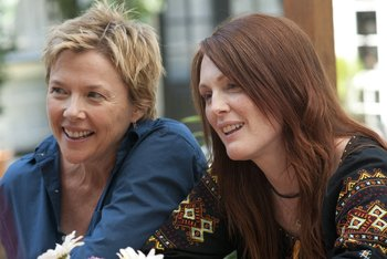 The moms: Annette Bening (left) and Julianne Moore as Nic and Jules, two lesbian mothers involved in a stable relationship who have children fathered by the same sperm donor.