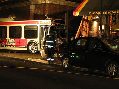 The SEPTA bus that crashed into Monk&acute;s Cafe hit the corner of the three-story brick building where Monk&acute;s is located. (Jonathan Tannenwald/Philly.com)<br />