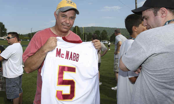 Jim Devlin, of King of Prussia, displays his McNabb Redskins jersey, which Eagles security at Lehigh asked him to remove.