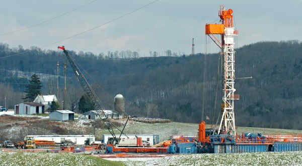 A natural-gas drilling rig at work in Susquehanna County.