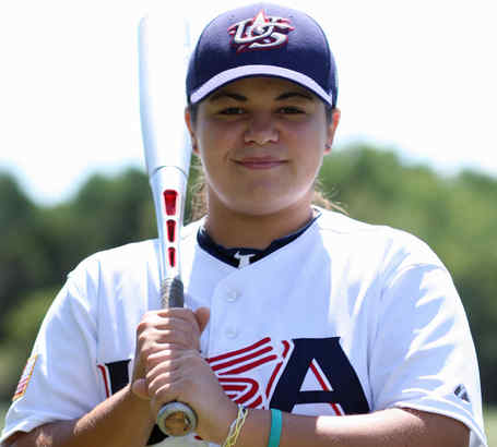 Gilbertsville´s Wynnie McCann played for the U.S. national baseball team in Venezuela in the Women´s World Cup last month. Her team captured a bronze medal, above.
