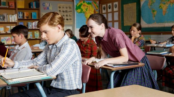 "Callan McAuliffe as Bryce and Madeline Carroll as Juli in ""Flipped."" Most of the movie unfolds while the two are in eighth grade, back in 1963."