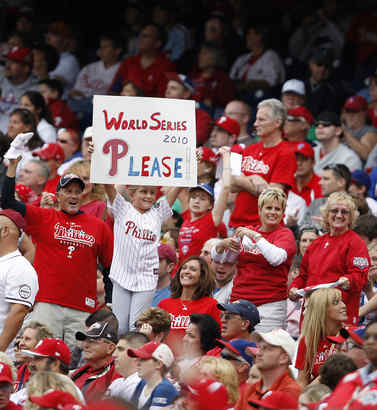 Fans getting used to Phils in World Series.