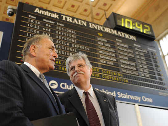 Gov. Rendell and Amtrak´s Joseph Boardman at 30th St. Station, where Boardman unveiled Amtrak´s high-speed service vision. CLEM MURRAY / Staff Photographer)